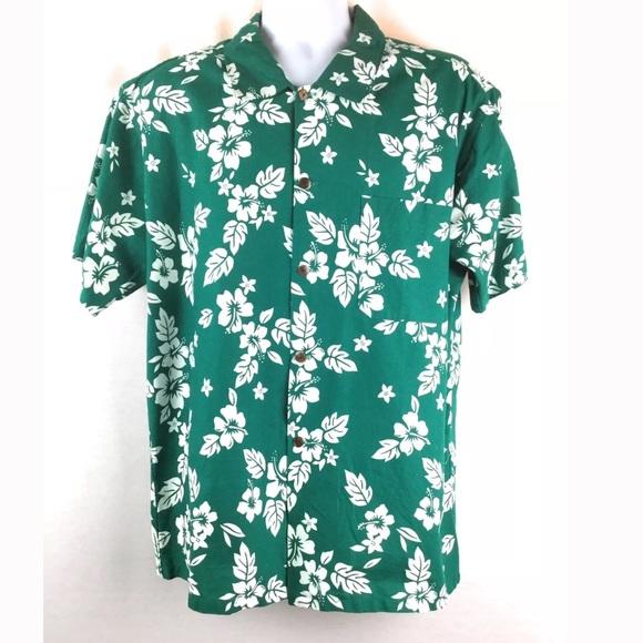 e36b6f5a09aa Kalua Shirts | Hawaiian Print Shirt Mens Xl Floral Green Tahiti ...